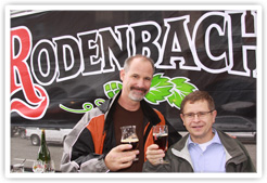 Beer club president Kris Calef enjoying a Rodenbach with Rudi Ghequire, site manager of Brouwerij Rodenbach, Roeselare, West Flanders